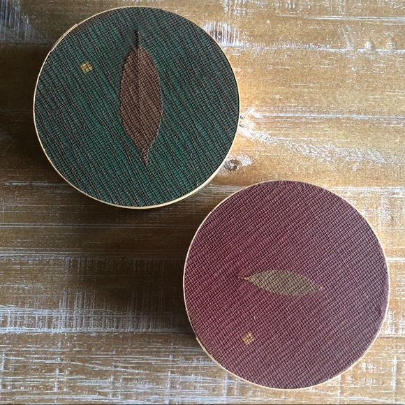 Vintage Set of 2 Bamboo Round Boxes with Lids